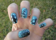 Blue feather nails by Mandie's Manicures