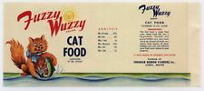 FUZZY WUZZY Vintage Lubec ME Maine Cat Food Label, *AN ORIGINAL TIN CAN LABEL*