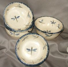 Stoneware Pottery Set of 4 Small Dragonfly Bowls