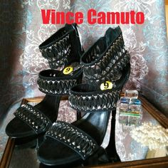 "Party! New with tags famous Vince Camuto black suede including heels. With silver accents. Heel is 4"". Let's dance! Ask me about FREE shipping! Vince Camuto Shoes Platforms"