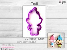 Troll  3D cookie cutter by FountainCookiesShop on Etsy