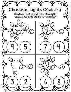 Christmas Worksheets Kindergarten, Preschool Number Worksheets, Numbers Preschool, Preschool Christmas, Free Preschool, Christmas Activities, Preschool Themes, Kids Learning Activities, Vocabulary Activities