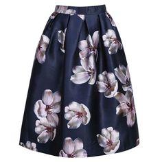 Empire Waist Floral Print Elastic High Waist Long Midi Skater Skirt