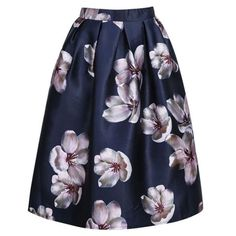 Empire Waist Floral Print Elastic High Waist Long Midi Skater Skirt