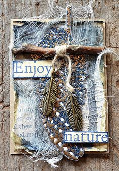 Awesome Artist Trading Card by Belinda Spencer using the Darkroom Door Feathers and Gum Trees stamp sets!! So much texture!