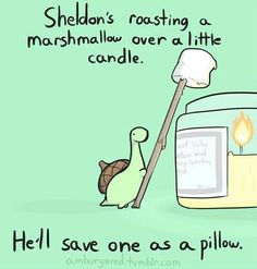 Sheldon's roasting a marshmallow over a little candle, he'll save one as a pillow, text; Sheldon the Tiny Dinosaur