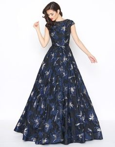 Mac Duggal - Beaded and Printed Bateau Ballgown Evening Dresses, Prom Dresses, Club Dresses, Dress Outfits, Fashion Dresses, Gowns With Sleeves, Cap Sleeves, Printed Gowns, Red Carpet Gowns