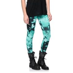 Defy gravity with your style in the See You Monday Mint Galaxy leggings for girls.