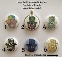 Hamsa Hand Interchangeable Magnetic Necklace by BellyLaughButtons