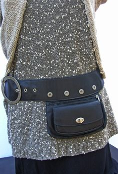 Black Leather Hip Bag Bum Bag Fanny Pack Travel Pouch by RuthKraus, $110.00