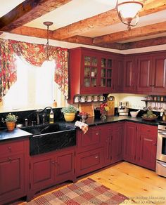 Fine Red Country Kitchens Picket Fence Projects Homey Home Clipboard On And Design Ideas