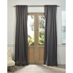 Shop for Exclusive Fabrics Charcoal Rod Pocket and Back Tab Blackout Curtain…