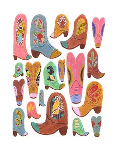 COWBOY BOOTS 85 x 11 PRINT by yellowbuttonstudio on Etsy, $20.00