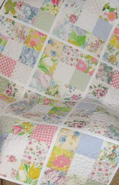 Reversible Lap Throw or Baby Crib Quilt Pastel Floral by MiniMade