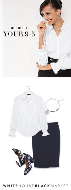 Refresh your 9-5 with classic styles that elevate your entire look— make polished a priority with these pieces. By taking your pencil skirt and pairing it with a chic, white blouse your look will work overtime. And don't forget to add a touch of sparkle with a silver bracelet— own the day and the night.