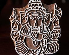 Hand Carved Indian Wood Block Stamp Block Leaf by charancreations