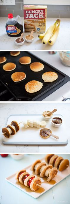 Nutella Mini Pancake Kabobs! Great for breakfast or brunch!