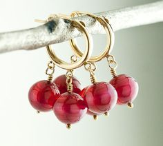 14k Gold Filled Very Berry Small Hoop Earrings by TheArtfulTwig,