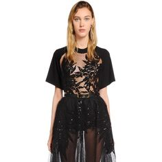 Elie Saab Women Swiss Dot Tulle & Jersey Top W/ Macramé featuring polyvore women's fashion clothing tops black transparent top jersey top see through tops sequin top sequin embellished top