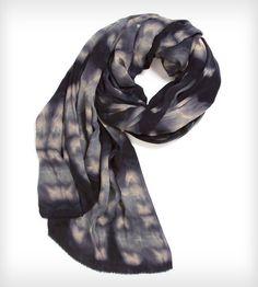 Shibori Silk Fringe Scarf - Starless