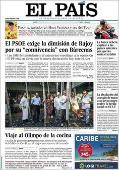 Los Titulares y Portadas de Noticias Destacadas Españolas del 15 de Julio de 2013 del Diario El País ¿Que le parecio esta Portada de este Diario Español?