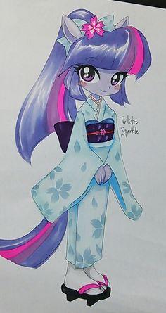 #515358 - ambiguous facial structure, anthro, artist:shu, kimono (clothing), pixiv, safe, solo, traditional art, twilight sparkle - Derpibooru - My Little Pony: Friendship is Magic Imageboard