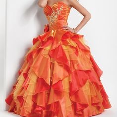 Long and elegant red, orange and yellow dress❤