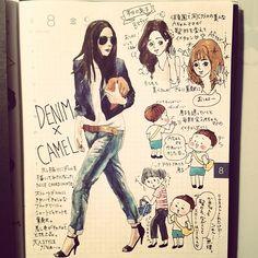 「男子やのぅ、の8月8日の日記。#いわゆる綺麗系女子スタイルは似合わないのよ #それより絵の人のクラッチバッグが唐揚げに見える件  #ほぼ日 #ほぼ日手帳 #ほぼ日umu #絵日記 #fashion #ファッションイラスト #コーデ #コーディネート #style #illustration #DENIM」