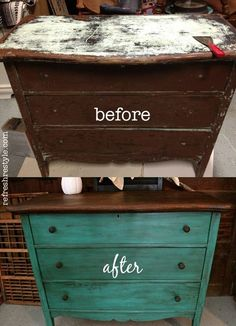 Emerald Green Dresser - Dresser - Ideas of Dresser - Makeover your favorite dresser with this DIY project. Check out this great tutorial on how to make your very own Green Dresser. Refurbished Furniture, Repurposed Furniture, Furniture Makeover, Antique Furniture, Rustic Furniture, Modern Furniture, Furniture Styles, Diy Upcycled Dresser, Upcycled Furniture Before And After
