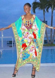 Kaftan with a spiral of flowers. perfume of France - Victoria Luxury Silk Embellished Kaftan Dress Tunic Cardigan Maxi Dress Silk Kaftan, Silk Dress, African Fashion Designers, Tailored Shorts, Victoria S, One Size Fits All, Boho Chic, Style Inspiration, Spiral