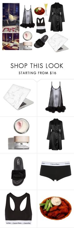 """""""Indoors, Movies, Sparkling Drinks,Wings, and City Night View"""" by michellekayla ❤ liked on Polyvore featuring Recover, Gilda & Pearl, Origins, La Perla, Puma and Calvin Klein Underwear"""