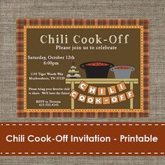 Chili Cook Off invitation. Great invitation for fall party. https://www.etsy.com/listing/202823618/chili-cook-off-invitation-printable-diy?