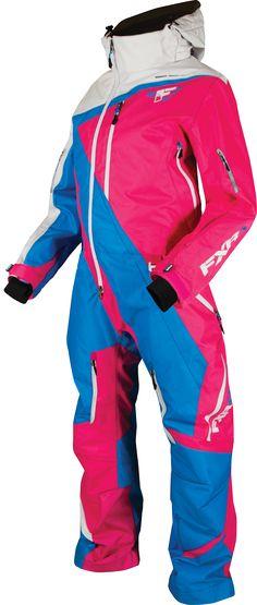 FXR Racing - Snowmobile Gear - Women's Maverick Mono Suit - Fuchsia/Blue/White