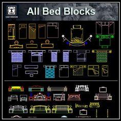 All Beds Blocks Bundle Tv Wall Design, Ceiling Design, Bloc Autocad, Bed Blocks, Cad Library, Restaurant Plan, Paving Design, Free House Plans, Drawing Interior