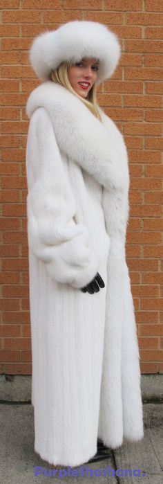 white mink and fox fur coat & hat