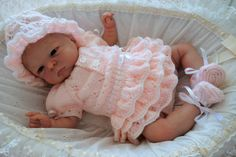 Romper suit with frills, sun bonnet, shoes. Coming home outfit. by KosyKnits on Etsy