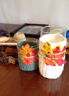 We tried our hand at a no sew sweater craft by making candle holders with autumn leaves!