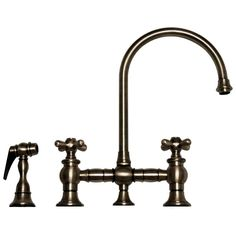 Charmant Vintage III Bridge Faucet With Long Gooseneck Swivel Spout, Cross Handles  And Solid Brass Side