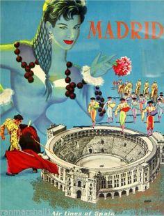 Madrid-Spain-Bull-Fight-Europe-European-Vintage-Travel-Advertisement-Art-Poster