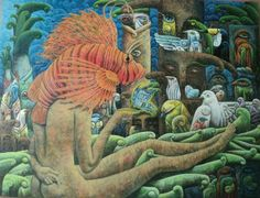 "Yidier Llanes Rodríguez   THE TRAP  39"" X 55"" Acrylic and Oil CUBANOCANADIAN CUBAN ARTWORK"