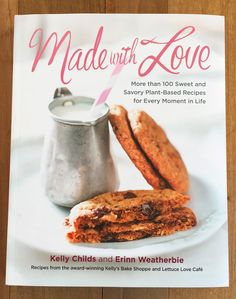 Picture of the Made with Love Book that contains the vegan gluten free bite size vrownies recipe found in this post.