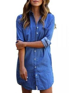 6f9f4462f9 New iShine Women s Casual Denim Shirt Short Mini Dress Button Down Pockets  Long Sleeve Blue Jeans Long Tops Blouse online. Find the perfect MOOSUNGEEK  ...