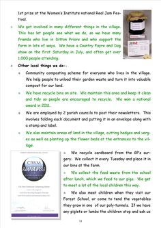 Newsletter 1, page 11 Items on this page about some of the things the farm has won and achieved; prizes for its produce, awards for eco-services, etc.  They are all immensely proud of these achievements.