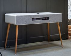 I think this is probably a modern-era radiogram. But the look of this Ruark Audio MKIII music system is anything but modern. I think this is probably a modern-era radiogram. But the look of this Ruark Audio MKIII music system is anything but modern. Smart Furniture, Furniture Design, Speaker Table, Home Speakers, Bluetooth Speakers, Music System, Speaker Design, Equipment For Sale, Audio Equipment