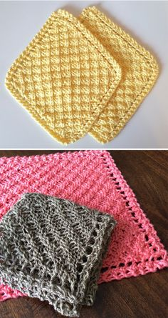 Crochet Stitches Design Free Knitting Pattern for Grandmother's Waffle Washcloth/Blanket - Diagonal waffle stitch created by making increases and then decreases at row ends. Designed by Rachelle Corry. Pictured projects by marilymar and mzmackay - Knitted Dishcloth Patterns Free, Knitted Washcloths, Crochet Dishcloths, Knitted Blankets, Knitting Patterns Free, Stitch Patterns, Crochet Patterns, Free Pattern, Blanket Patterns