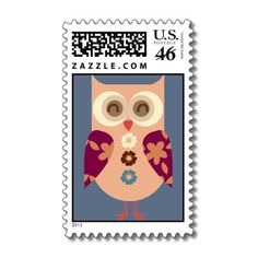 Beautiful Folk Art Owl Postage Stamps