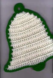 crochet christmas potholder patterns | Bell potholder crochet pattern