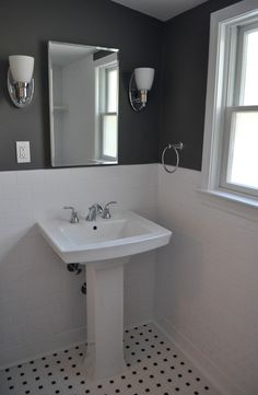 bathroom white walls black accent | like charcoal aren't often the color of choice in a small bathroom ...
