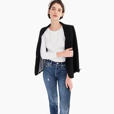 Crew for the Slim perfect long-sleeve T-shirt for Women. Find the best selection of Women Clothing available in-stores and online. J Crew T Shirts, J Crew Tops, White Long Sleeve, Long Sleeve Tops, Long Sleeve Shirts, Crew Clothing, T Shirts For Women, Clothes For Women, Autumn Winter Fashion