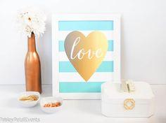 Aqua and white stripe with gold foil heart art print. Free printable!
